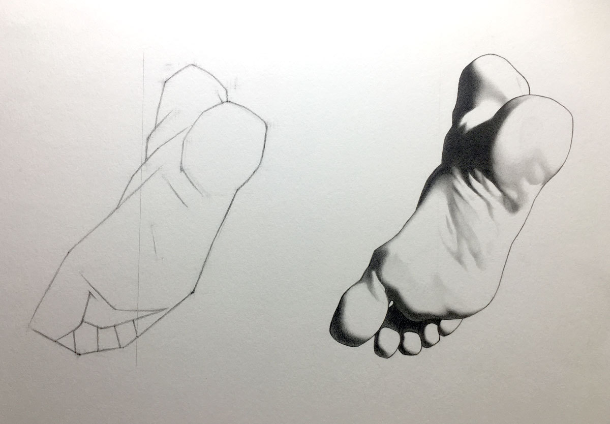 the completed Bargue drawing of a foot